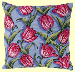 Canvas cushion tulips