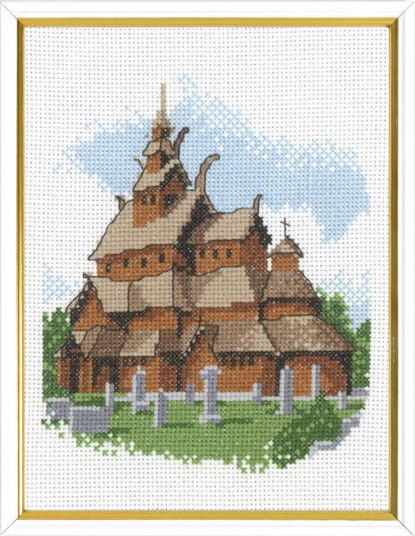 Stave church R5611   17x22cm